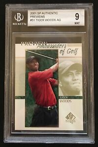 2001 SP Authentic Ambassadors of Golf Previews #51 Tiger Woods BGS 9 MINT !!