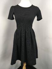 LuLaRoe Noir Blanc Amelia Dress XS Beautiful Black White Striped Zipper NWOT