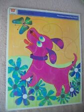 Vtg Whitman Flocked Fuzzy Wuzzy Purple Pink  Dog 1969 Frame Tray Puzzle Complete