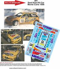 DECALS 1/43 REF 391 SEAT IBIZA KIT CAR ROVANPERA RALLYE MONTE CARLO 1998 RALLY