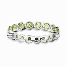 STERLING SILVER STACKABLE EXPRESSIONS  NATURAL PERIDOT  RING / BAND - SIZE 5