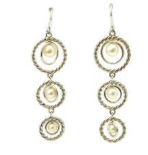 David Yurman Sterling Silver Triple Drop Pearl Dangle Earrings NWT