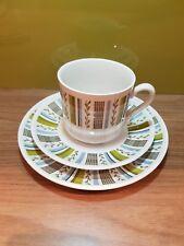 1960s Vintage Myott Fine White Ironstone Trio Cup Saucer Side Plate Set