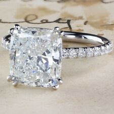 Near White 3.47 Ct Cushion Moissanite Fancy Engagement Ring 925 Sterling Silver