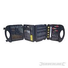 SILVERLINE Assorted Drill Bit Set 113pce HSS TITANIUM WOOD MASONRY BIT HOLDER