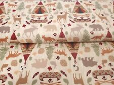 New listing Moose Meadow Animals Cotton Flannel Camping Scenes P&B By the Yard