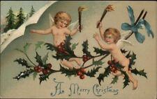 Christmas - Cherubs w/ Roches - Holly c1910 Postcard