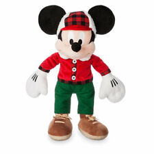 "MICKEY MOUSE HOLIDAY PLUSH 15"" H ""DISNEY STORE 2017"" ON FOOT PLAID & FURRY TRIM"