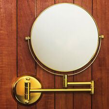 """Hotel Quality GOLD 8"""" Wall Mount Swing Arm 2-Sided Magnifying Mirror 1 & 7X"""