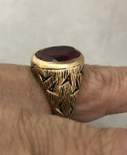 *OUTSTANDING* VINTAGE ESTATE 10K YG 1950s SYNTHETIC RUBY MENS PINKY RING 12.2 GR