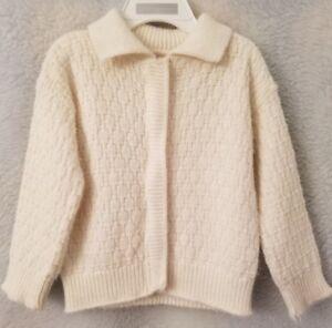 Girls Ivory Fuzzy Style Zipper Front Sweater Jacket Cardigan Size 6 12 18 Month