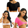 Womens Dance Tops Sheer Mesh Crop Tank Tshirt Cupless Bralette Camisole Lingerie
