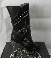 Newrock Rock203 Ladies Leather Black Heel Boots Gothic Skull Buckle New Rock 203
