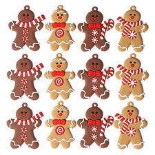 12Pcs Gingerbread Man Ornaments for Christmas Tree Decorations Hanging Charms