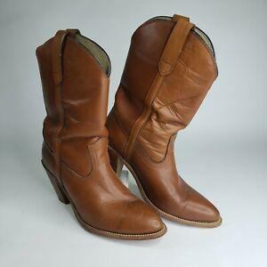 Vintage Women's Frye Cowboy Boots Brown Leather Stacked Heel 10B Made in USA