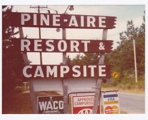 Vintage 70s PHOTO RV Camp Pine-Are Resort & Campsite Sign Eagle River Wisc