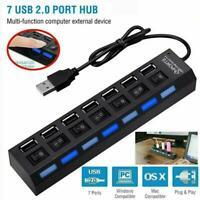 USB 3.0 Hub Charger Switch Splitter Power AC Adapters 7-Ports PC Laptop Desktop