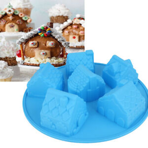3D Christmas House Silicone Cake Mould Chocolate Baking Soap Jelly Ice Tray Mold