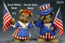Ceramic Bisque Ready to Paint Uncle Sam and Aunt Betsy Bears with Flags