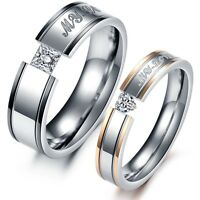 Band Promise Crystal Ring Gold/Silver Couple Love Titanium Steel