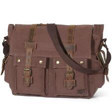 15.6 Laptop Messenger Shoulder Bag Men Vintage Military Leather Canvas Briefcase