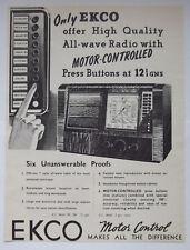 Ekco Motor Controlled Valve All Wave Radio Vintage 1938 Advert