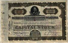 Franklin Fire Insurance Company of Philadelphia Stock Certificate