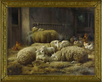 Old Master Art Antique Animal Sheep Chicken Farm Oil Painting Unframed 30x40 in