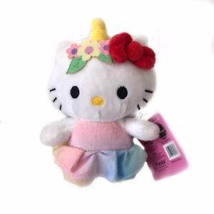 Sanrio Hello Kitty Rainbow Pink Floral Unicorn Plush Toy Brand New with Tag