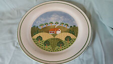 """Sango Sangostone Country Cottage Serving Dish Chop Plate 12"""" Hills Trees House"""