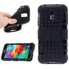 Backcover Hybrid Robot Schwarz für Samsung Galaxy S5 Cover Case Hülle Schutz Top
