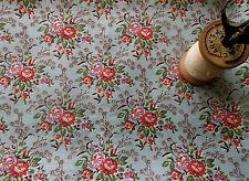 Antique Vintage French Floral Cotton Fabric~passion flower~coral lavender blue