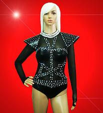 DRAG QUEEN CABARET SHOWGIRL DIVA DANCE LADY GAGA COSTUME body suit AB Rhinestone