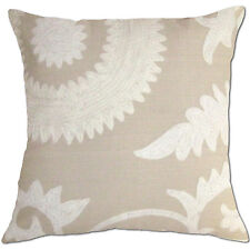bisque beige crochet embroidered linen cushion cover