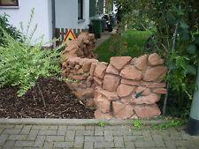 Trockenmauer rote Sandsteine mediterran Gartengestaltung selbst bauen rot Stein