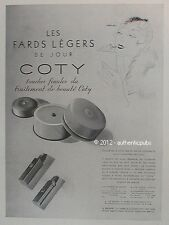 PUBLICITE COTY FARDS ROUGE A LEVRES MAQUILLAGE BEAUTE ART DECO DE 1936 FRENCH AD