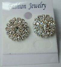 12*Small Round Diamante Diamonte Rhinestone Crystal Stud Earrings Sparkly Bling