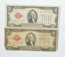 Lot (2) Red Seal $2.00 Series G & D US 1928 Notes - Currency Collection *050