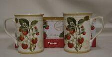 Set of Two Strawberry Mugs Brand New in Beautiful Gift Box - Fine China Mugs