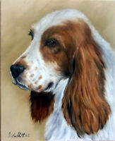 Dog Oil Painting Portrait of a Spaniel On 8x10 Canvas Panel Board realism style