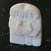 Alaskan Inuit Carved Marble Eskimo Couple & Hen Sculpture Signed Qaqaq Ashoona