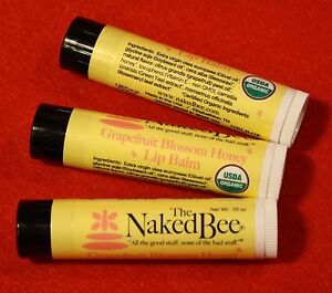 The Naked Bee Grapefruit Blossom Honey Lip Balm (3 sticks) USDA Organic
