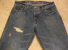 American Eagle Patchwork Paint Distressed Boot Cut Denim Blue Jeans mens 34 x 30
