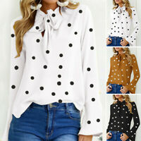 UK New Women Summer Polka Dot Flared Sleeve Tops Blouse Ladies T-Shirt Plus Size