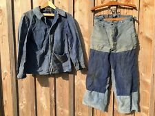 Bleu de travail ancien ensemble veste pantalon CREPIER EXTRA SAVO,1950 france