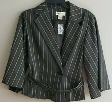 Newport News Striped Gray Button Up Blazer with Belt Womens Size 4 Style #31010