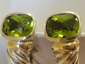 $1475 DAVID YURMAN 14K GOLD, SS PERIDOT EARRING