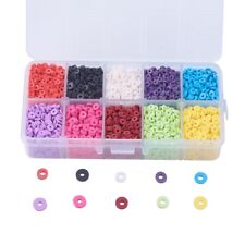 1900+ pc Polymer Clay Beads Disc/Flat Round Heishi Beads 10 Mixed Color 6mm USA