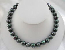 Natural AAA 12mm black rainbow south sea shell pearl Gems necklace 18''