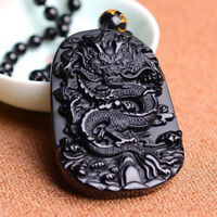 Lucky Amulet Black Dragon Pendant Necklace Natural Obsidian Carving Jewelry